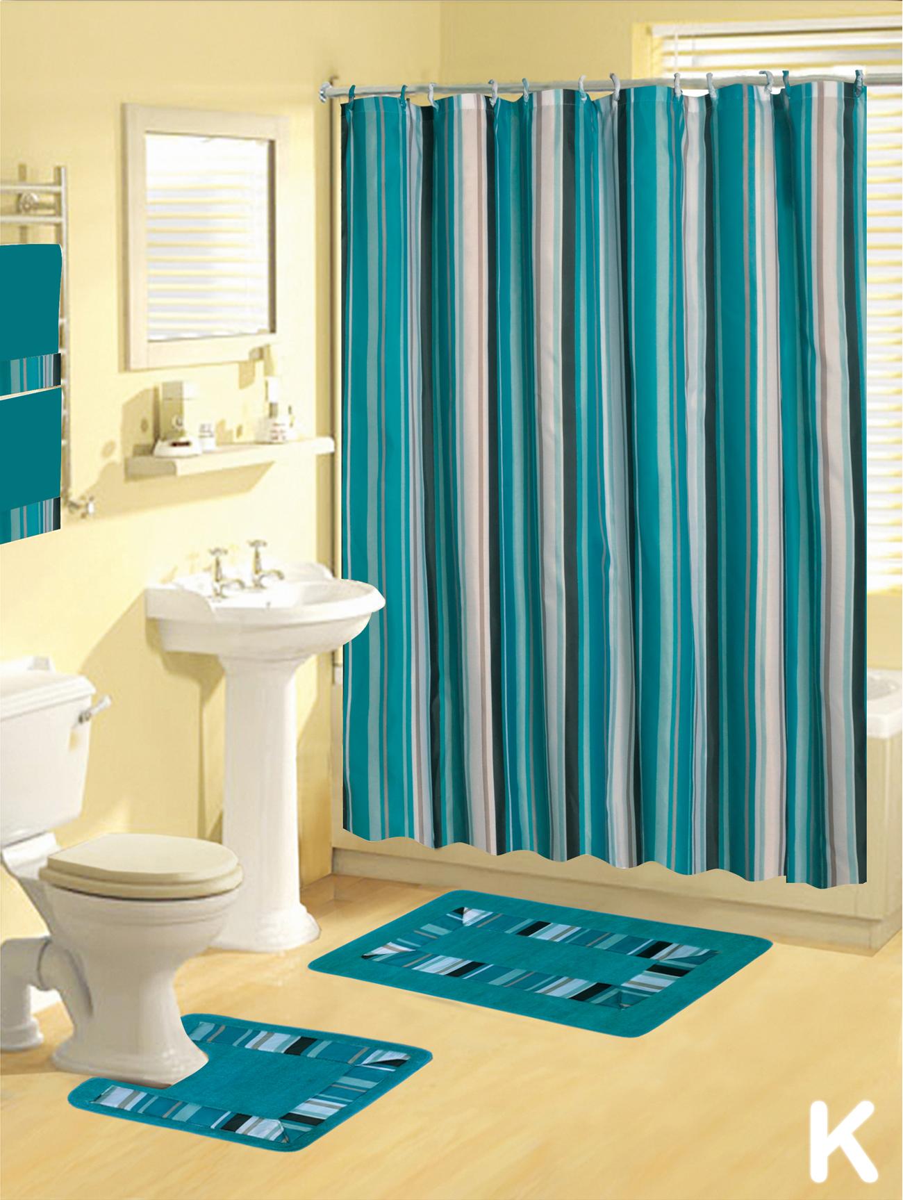 Shower Curtains 17 pcs Set Contemporary Bath Mat Contour ...