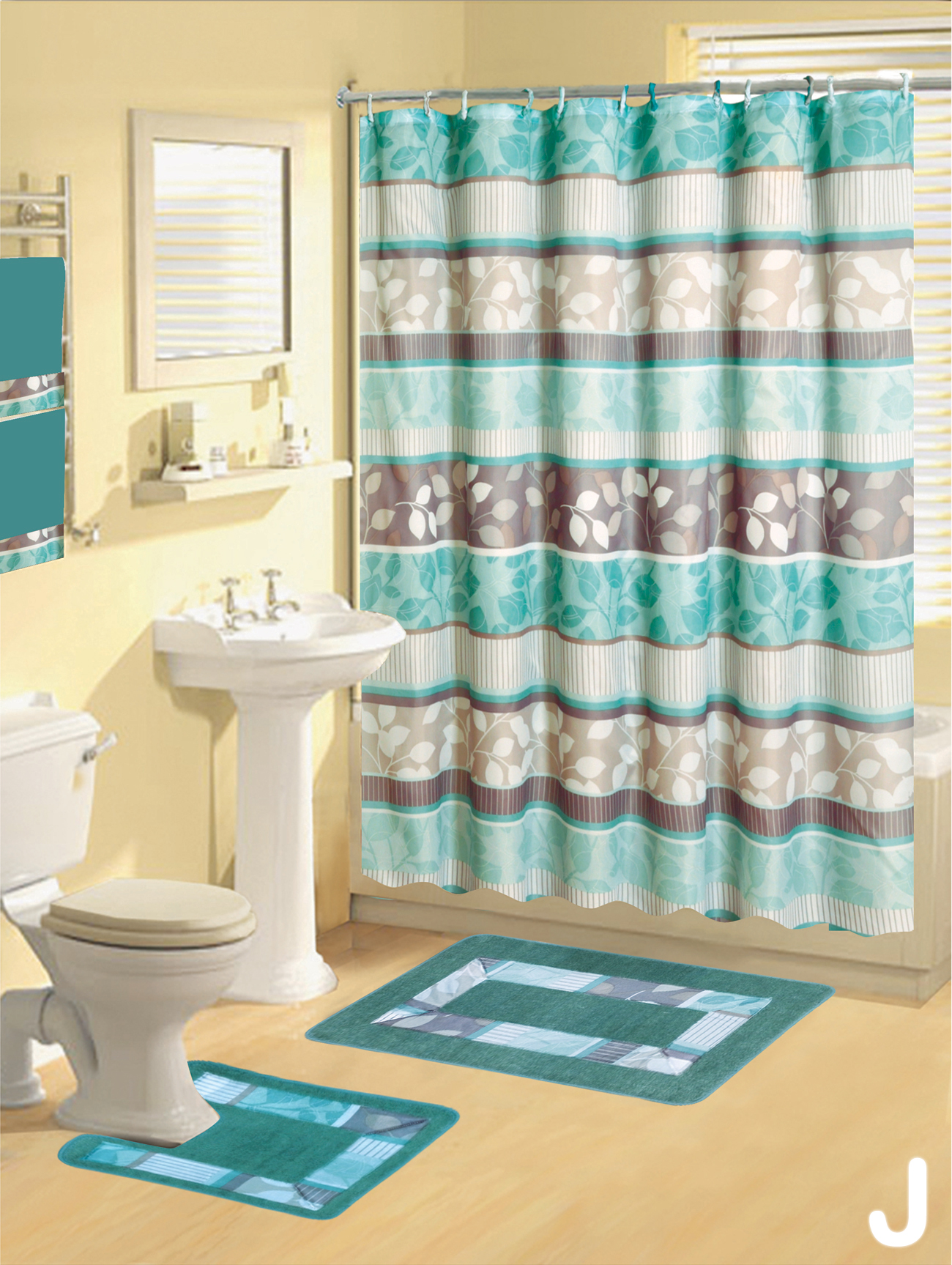 Shower Curtains 17 Pcs Set Contemporary Bath Mat