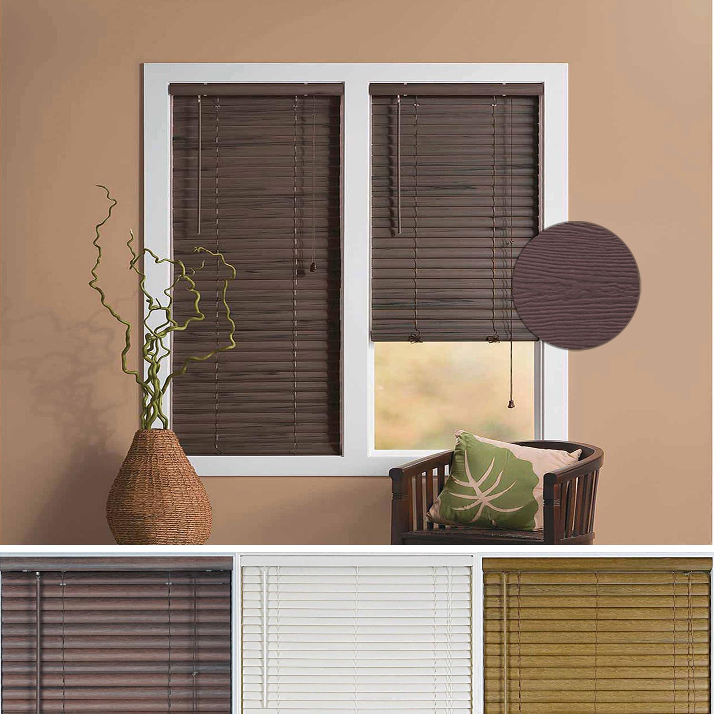 Window blind 2 slats mini blinds vinyl embossed woodgrain for 2 inch window blinds