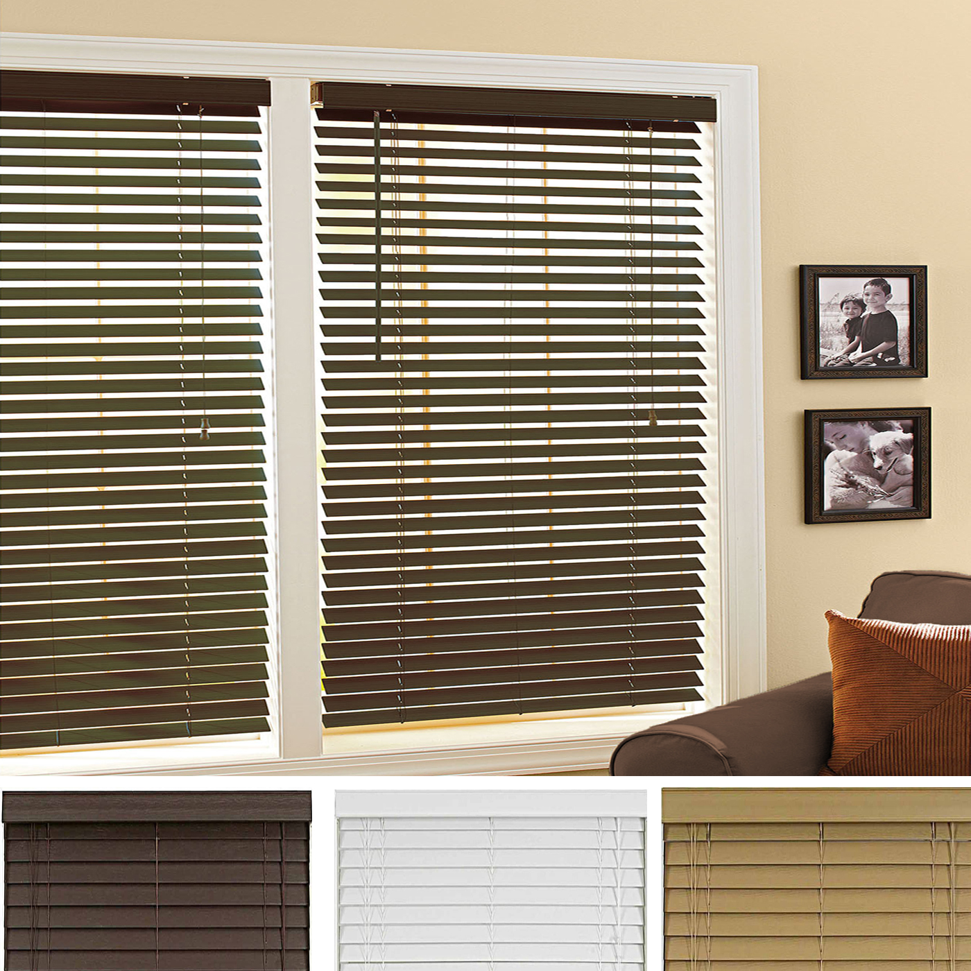 Mini Window Blinds 2 Quot Inch Faux Wood Grain Plantation