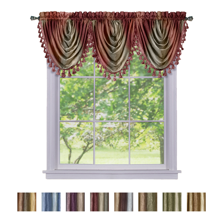 Window Curtains Modern Semi Sheer Waterfall Valance For Living Room Bedroom Ebay