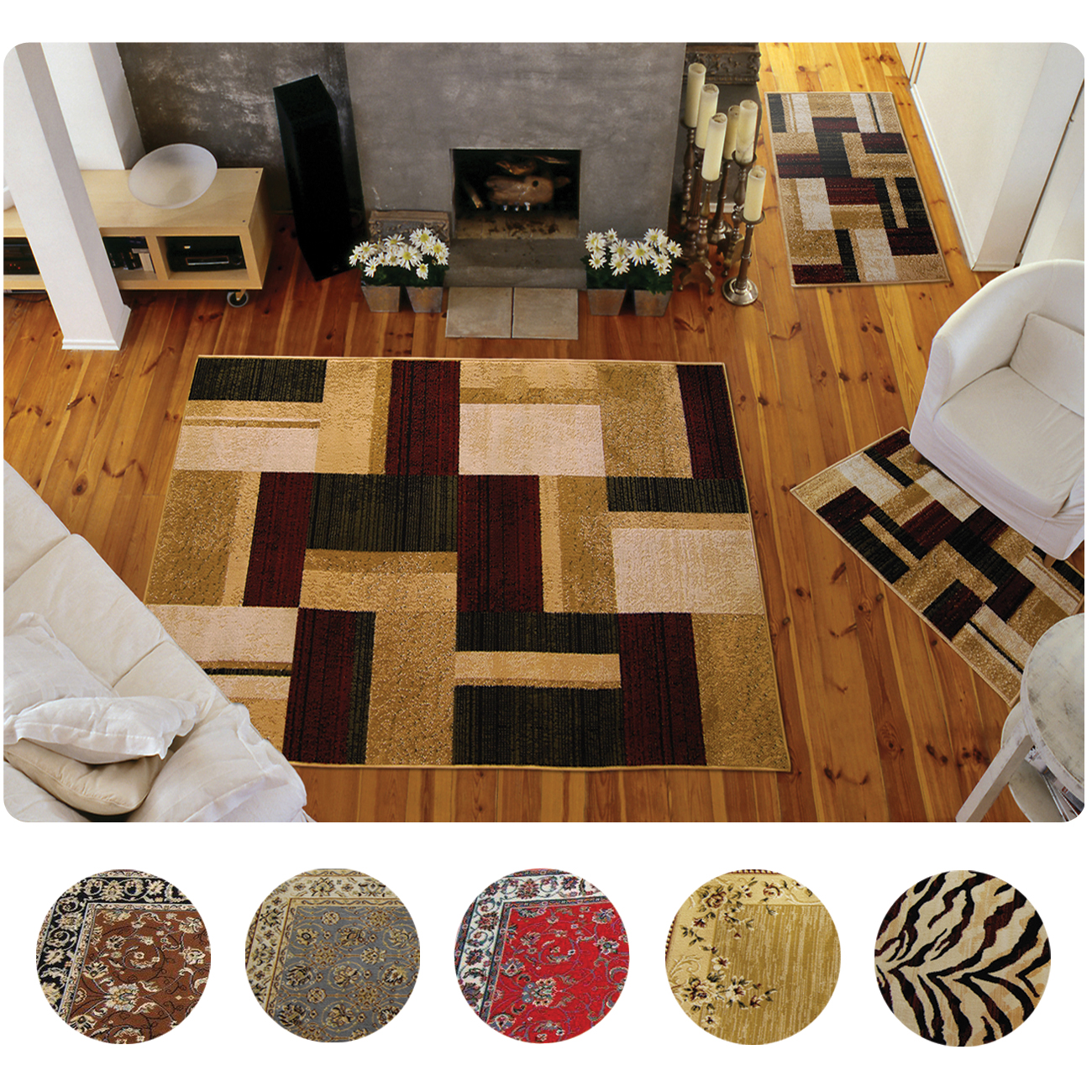 3 set modern or traditional area rugs scatter throw 87781