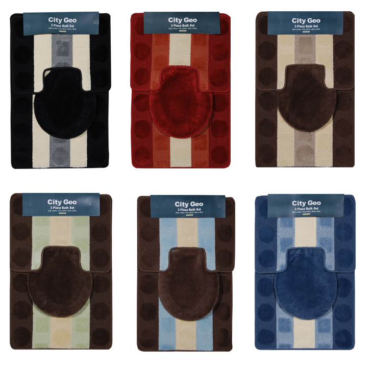 beautiful 3 Piece Bath Rug Part - 19: Modern Circles Stripes Brown-Teal 3 Piece Bathroom Shower Ensemble Bath Rug  Set