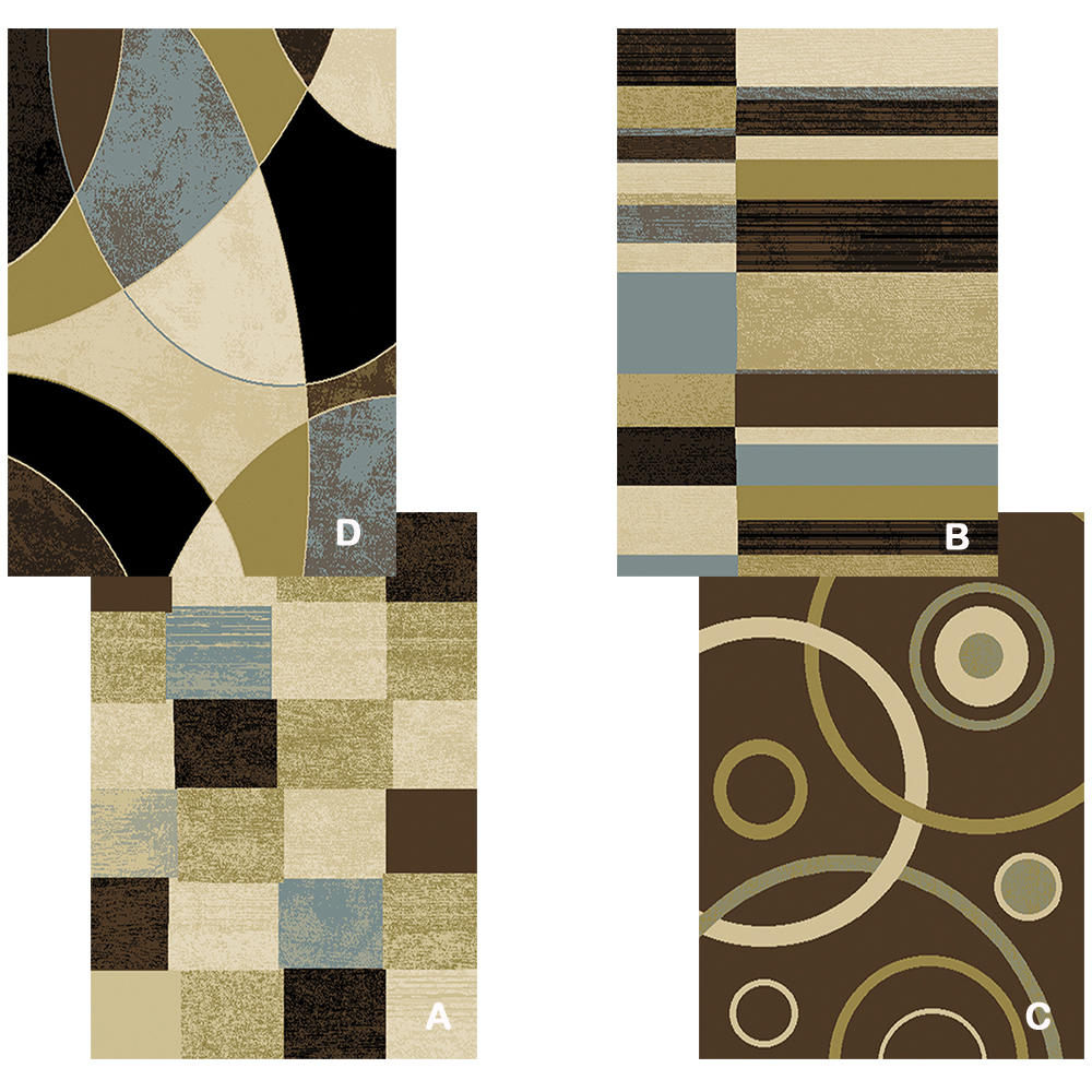 Contemporary Geometric Multi-Color 5x8 Area Rug Modern