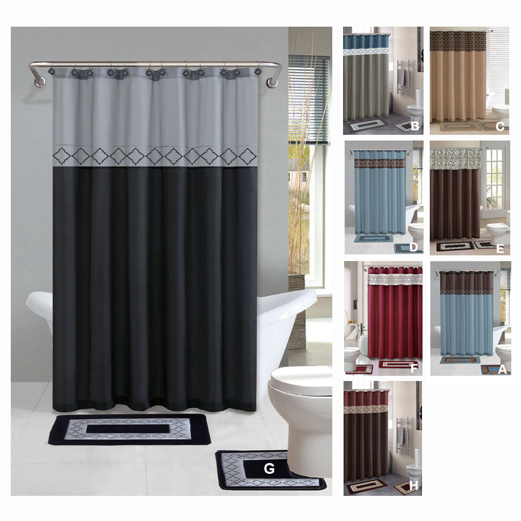 Contemporary-Bath-Shower-Curtain-15-Pcs-Modern-Bathroom-Rug-Mat-Contour-Hook-Set