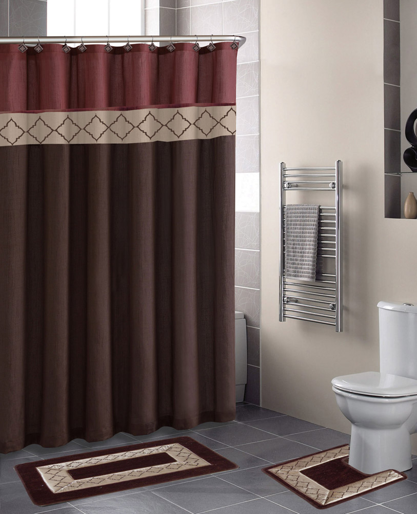 Rust Brown Modern Shower Curtain 15 Pcs Bath Rug Mat Contour Hooks Bathroom  Set