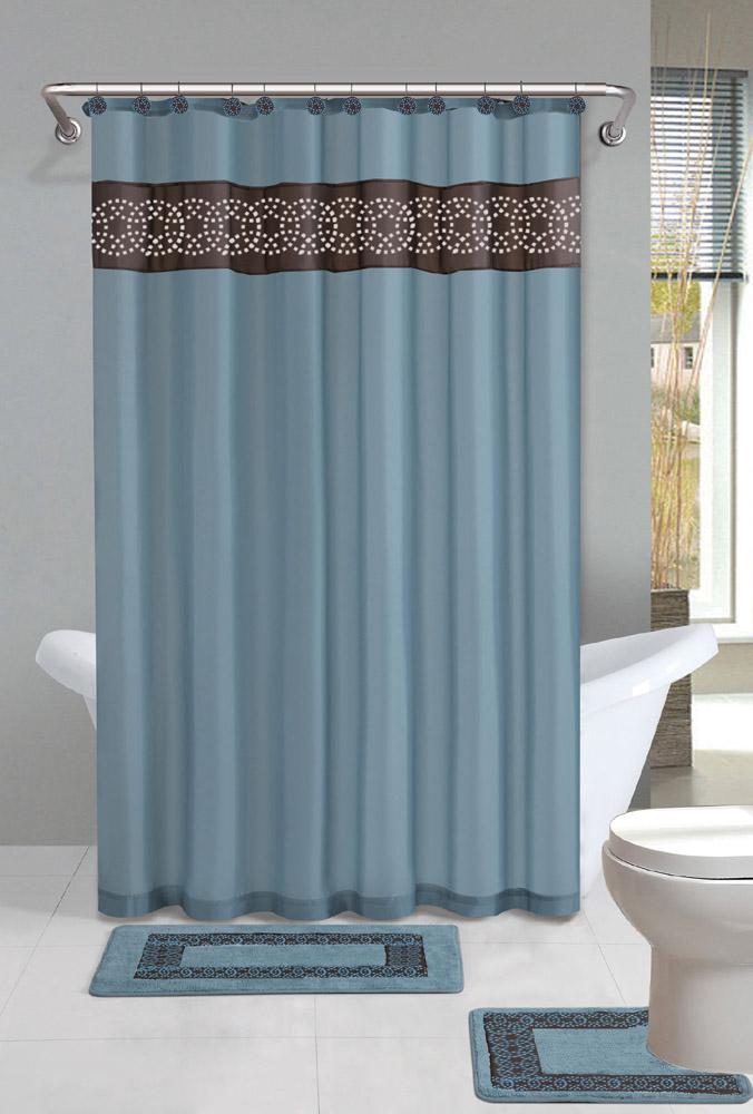 Contemporary Bath Shower Curtain 15 Pcs Modern Bathroom Rug Mat ...