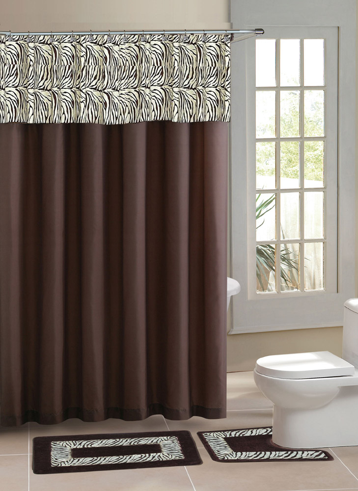 Brown Zebra Stripe Shower Curtain 15 Pcs Bath Rug Mat Contour Hooks