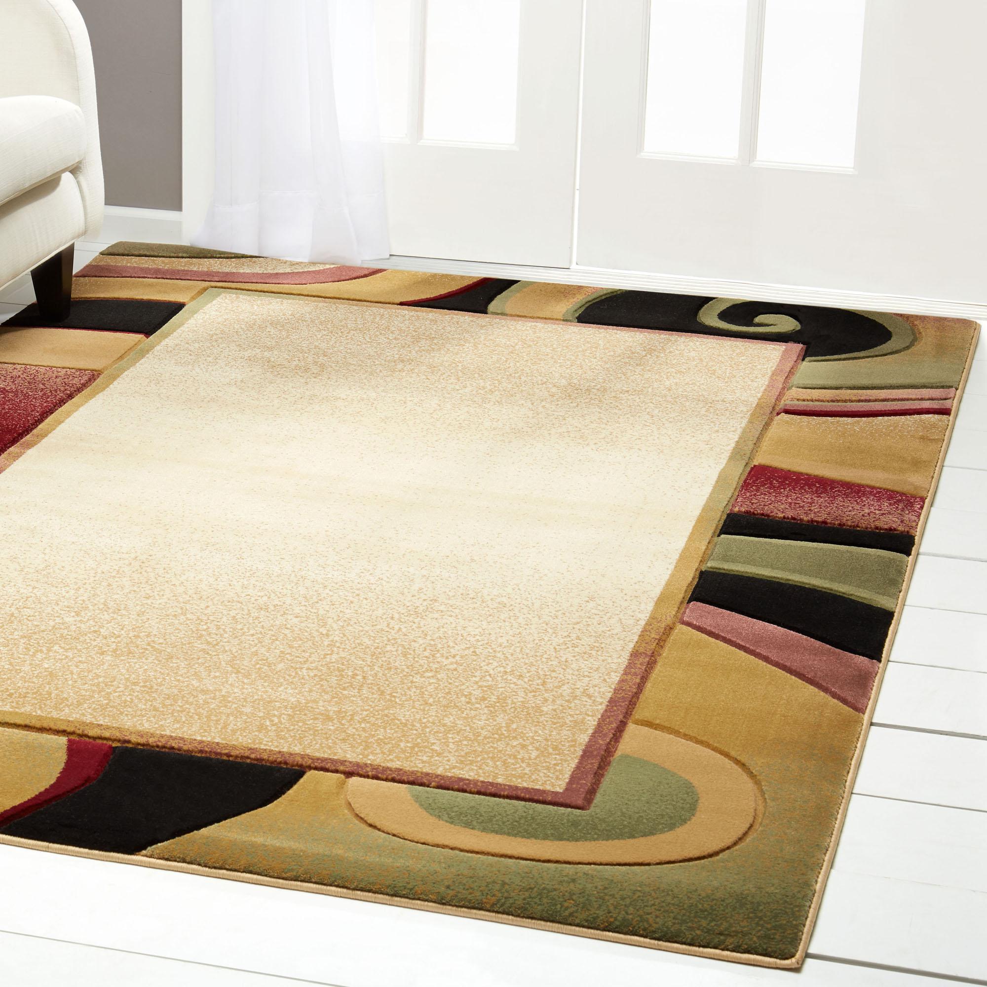 Asian Swirl Border Modern Area Rug 8x10 Contemporary Carpet Actual
