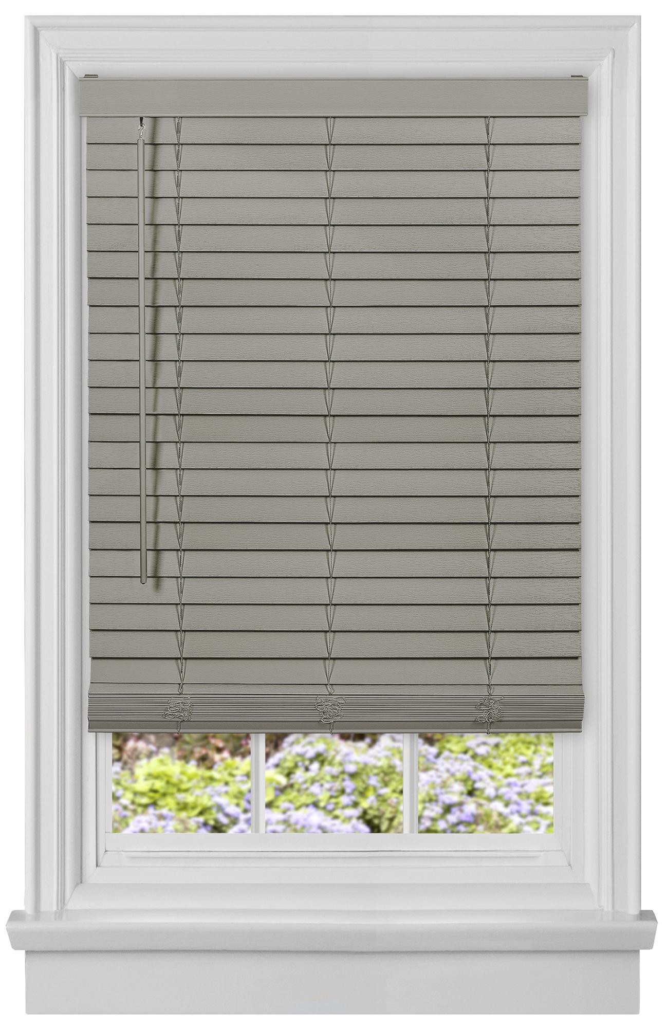 Cordless 2 Inch Faux Wood Blinds.Details About Cordless Gray Mini Window Blinds 2 Inch Faux Wood Grain Plantation Blind