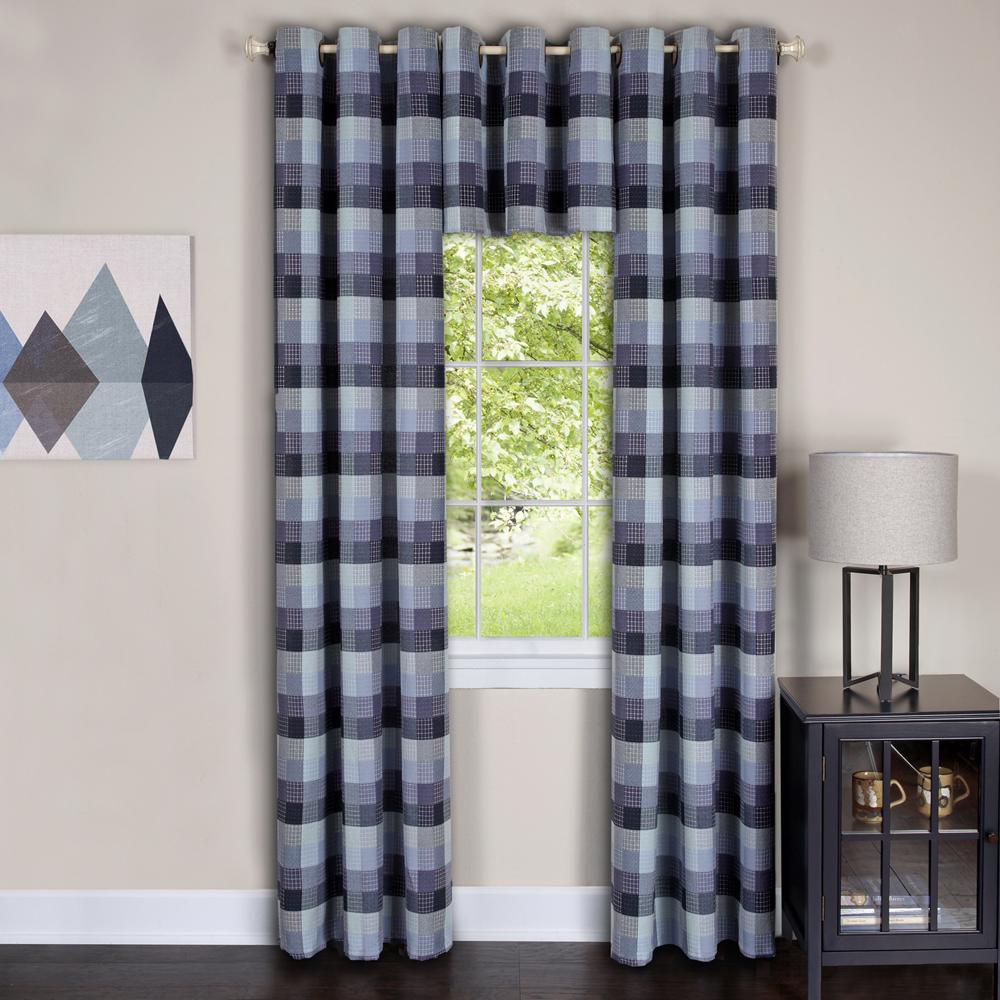 Grommet Kitchen Curtains: Geometric Plaid Window Kitchen Curtain Drape Privacy-Sheer