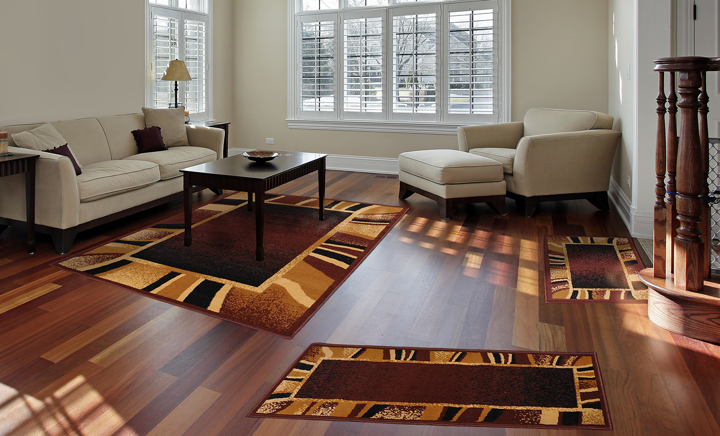 Brown Contemporary Border 3 Pcs Area Rug Set Modern Stripes Runner