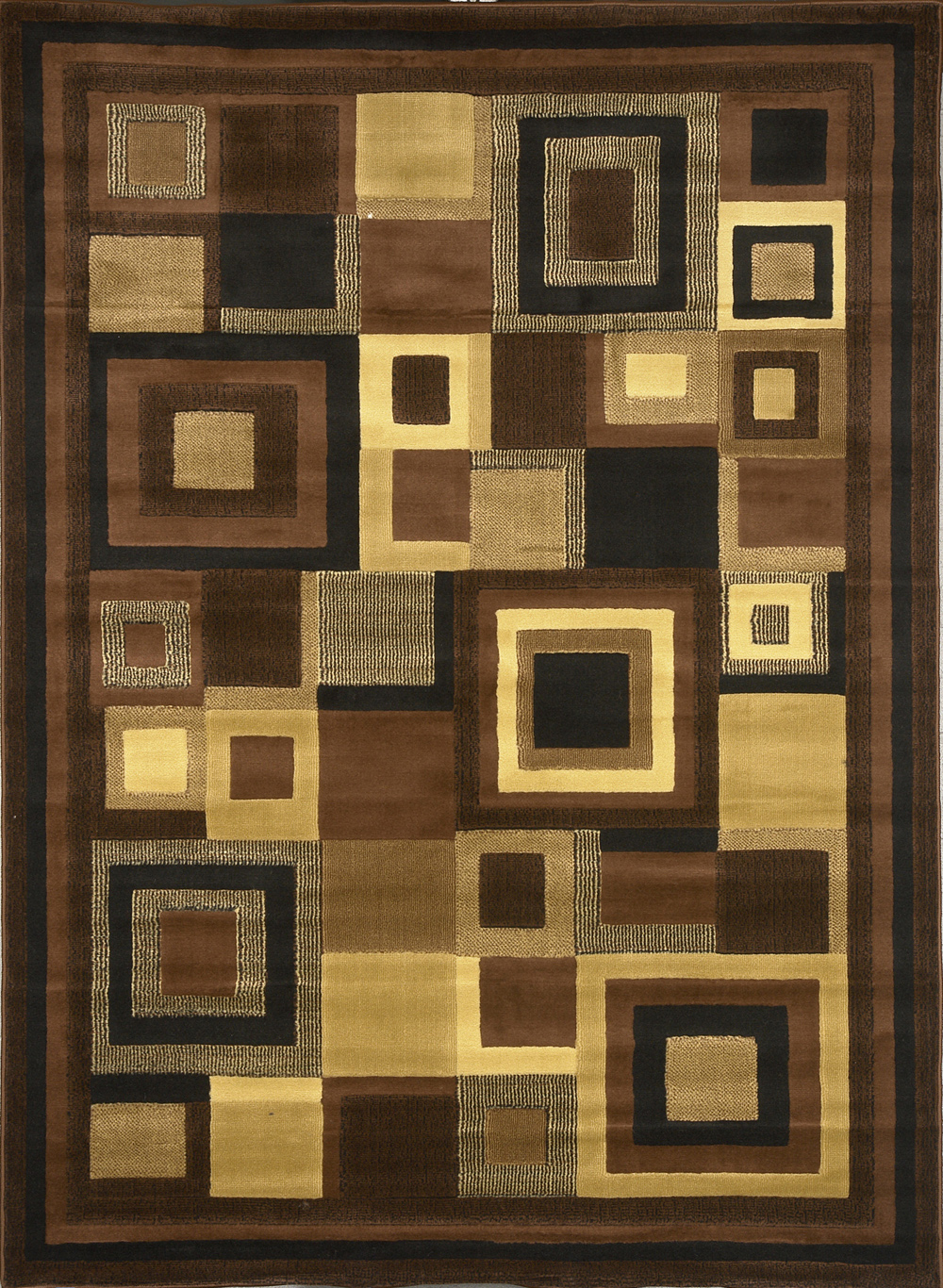 Bedroom 10x10 Size: Squares Blocks Contemporary Brown 8x11 Area Rug New