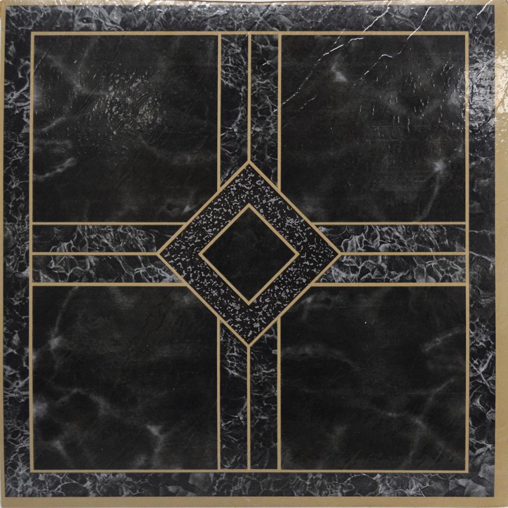 Black Marble Vinyl Floor Tiles 40 Pcs Self Adhesive