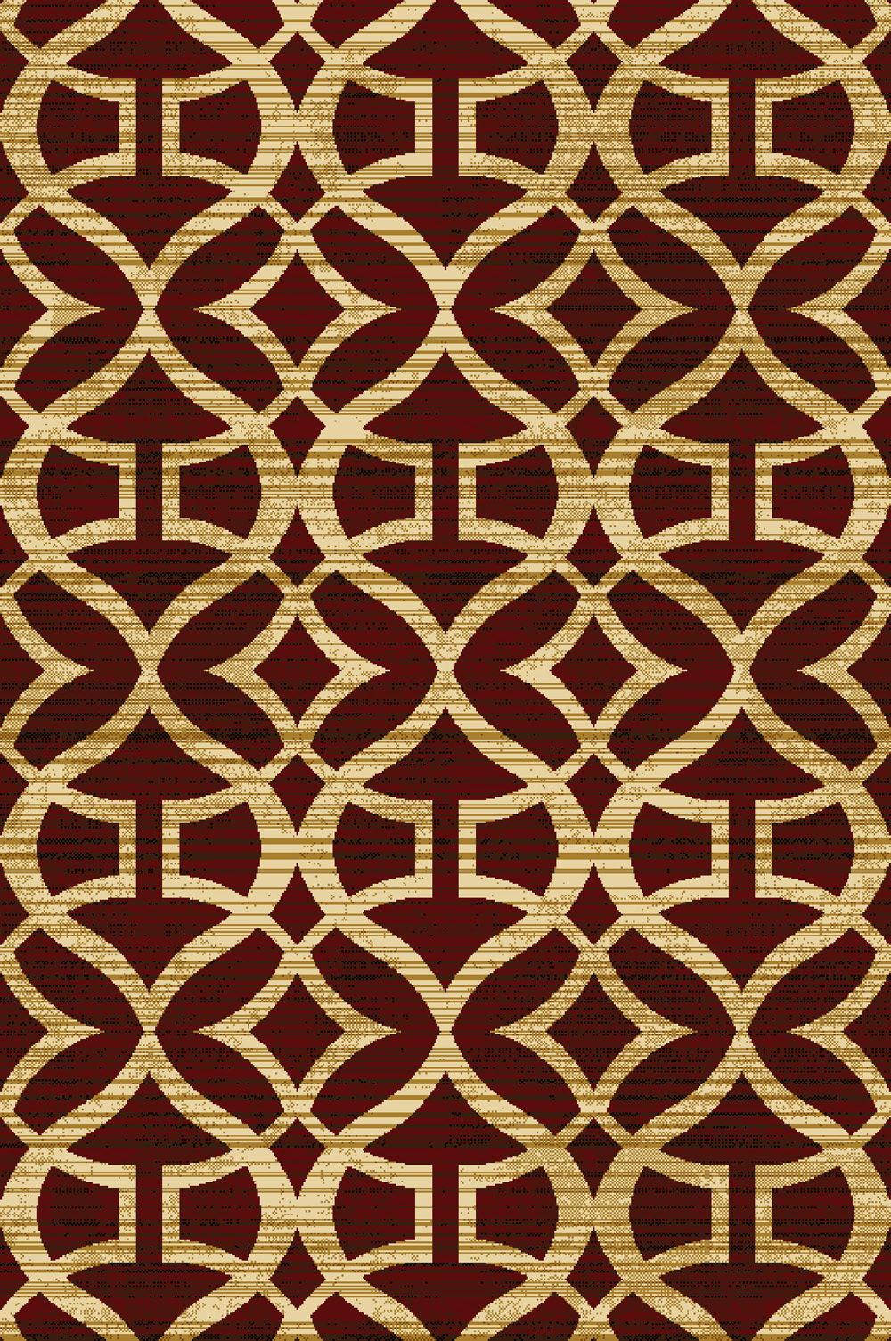 Red Contemporary Area Rug 5x7 Modern Geometric Curves