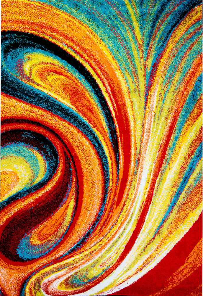 Swirls Contemporary Modern Area Rug Multi Color Abstract
