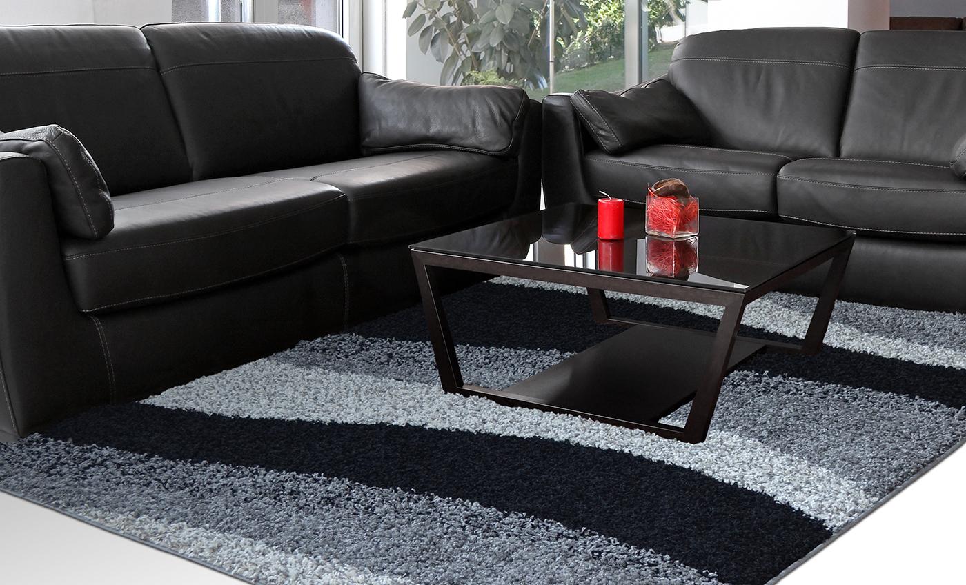 Contemporary Modern Shag Black Gray Area Rug Waves Shaggy Floor