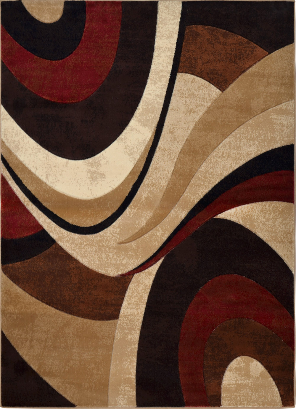 Modern Curves Brown Area Rug 3x5 Contemporary Waves Carpet ...