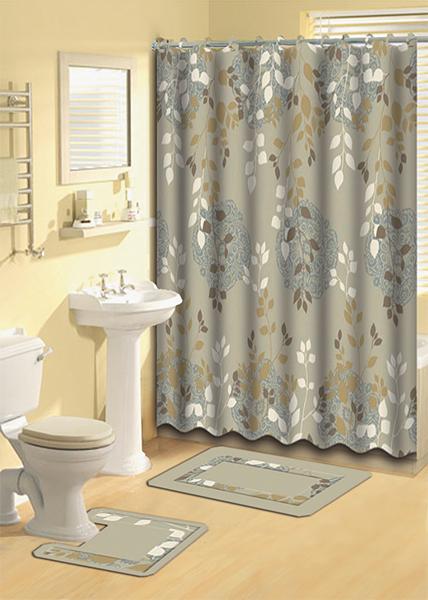 Taupe Aqua Floral Vines Shower Curtain 15 Pc Bath Rug Mat