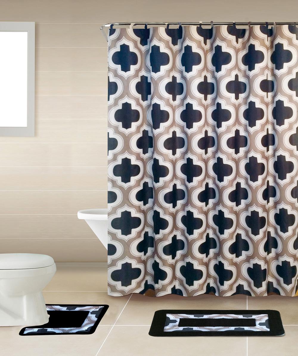 Black Lattice Geometric 15 Pcs Modern Shower Curtain With Hooks
