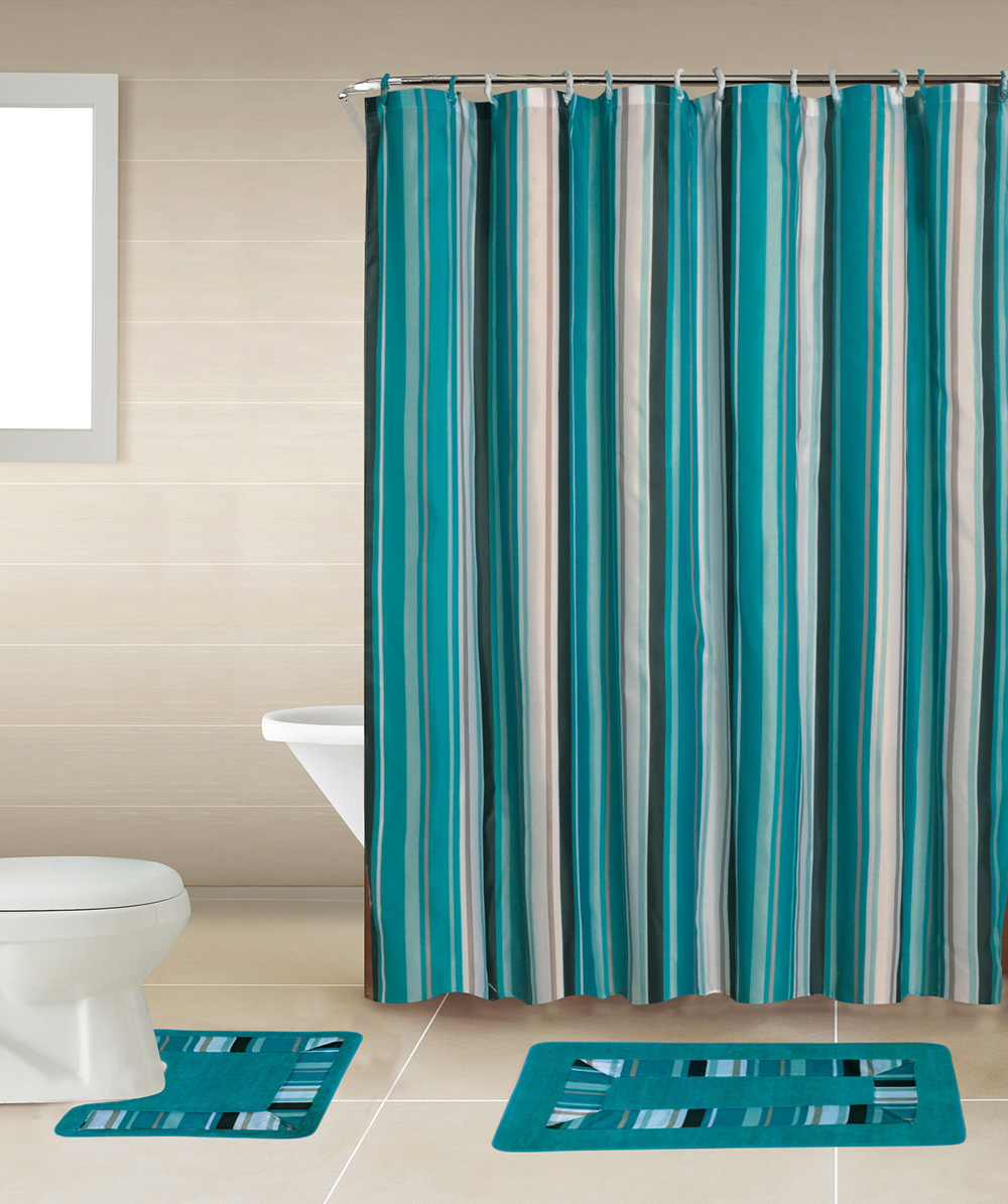 Blue Lines Stripes 15 Pcs Modern Shower Curtain With Hooks