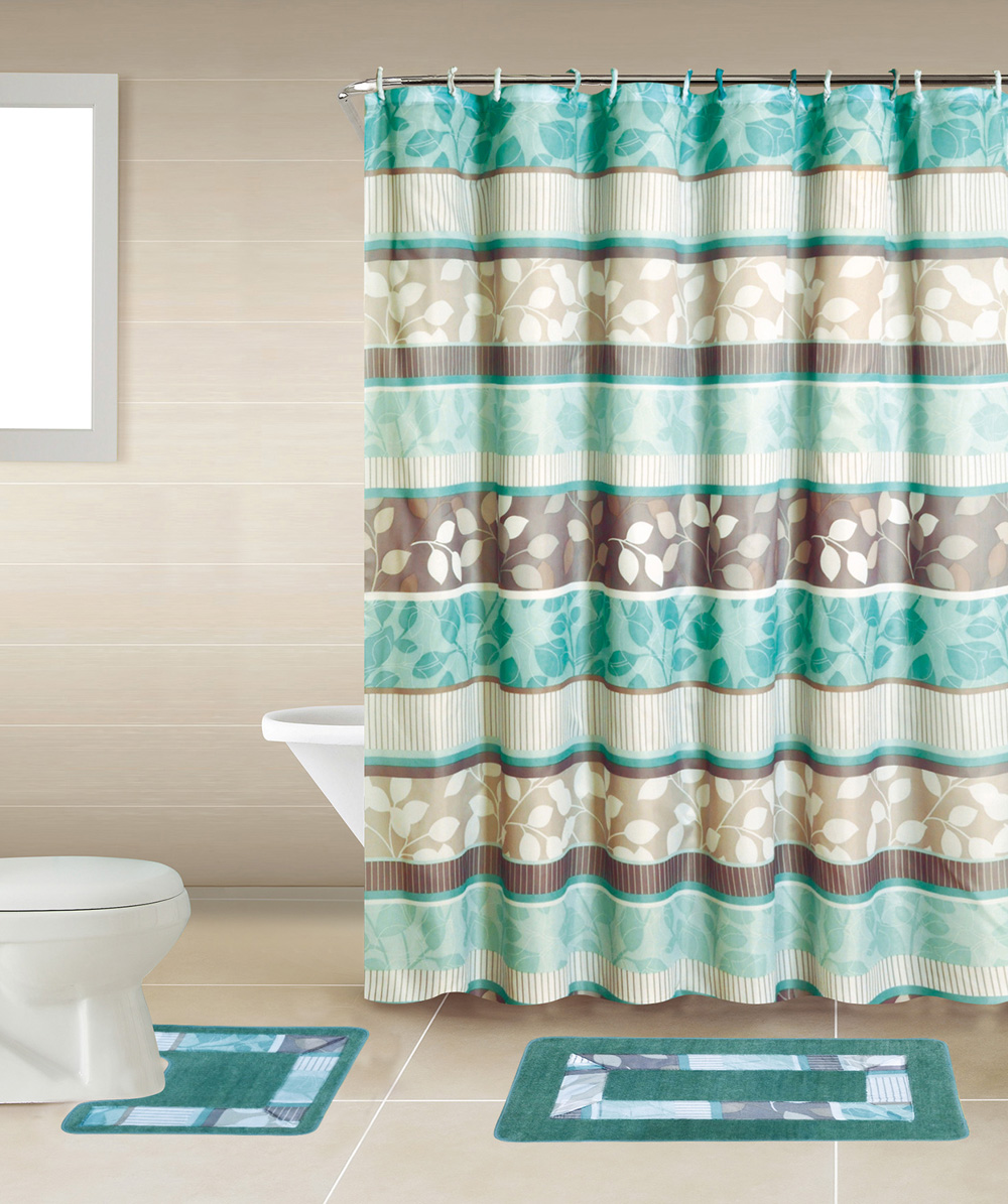 Turquoise Floral Multi 15 Pcs Modern Shower Curtain With Hooks Bathroom Rug Set