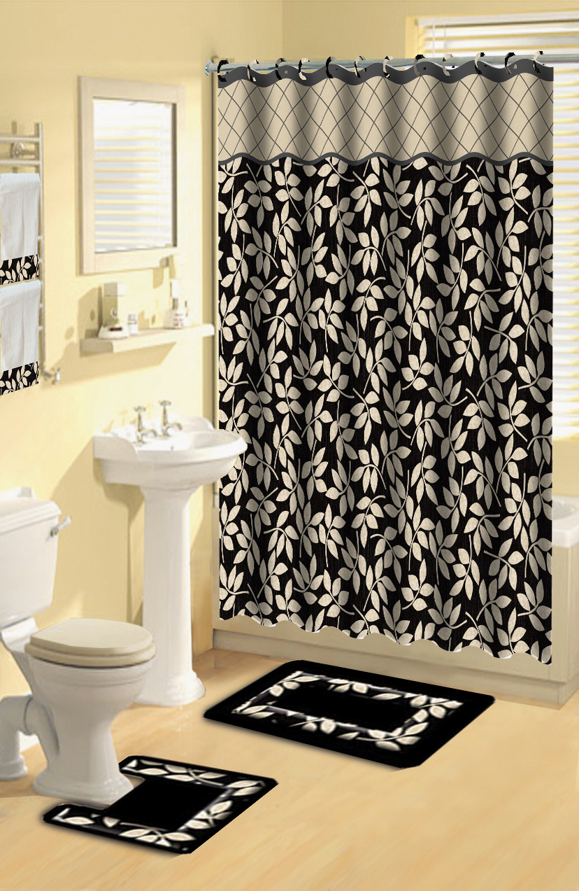Modern Floral Leaves Black 17 Piece Bath Rug Shower
