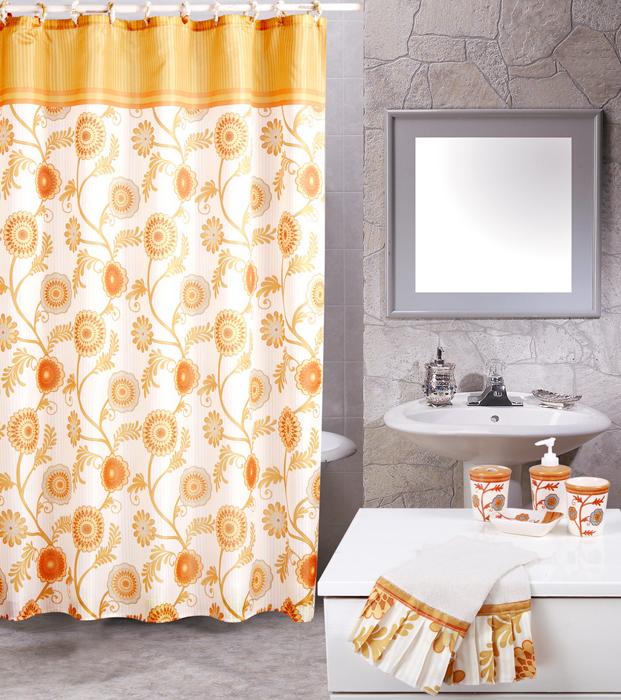 Beige Floral Vines Casual 19 Piece Bath Accessory Shower ...