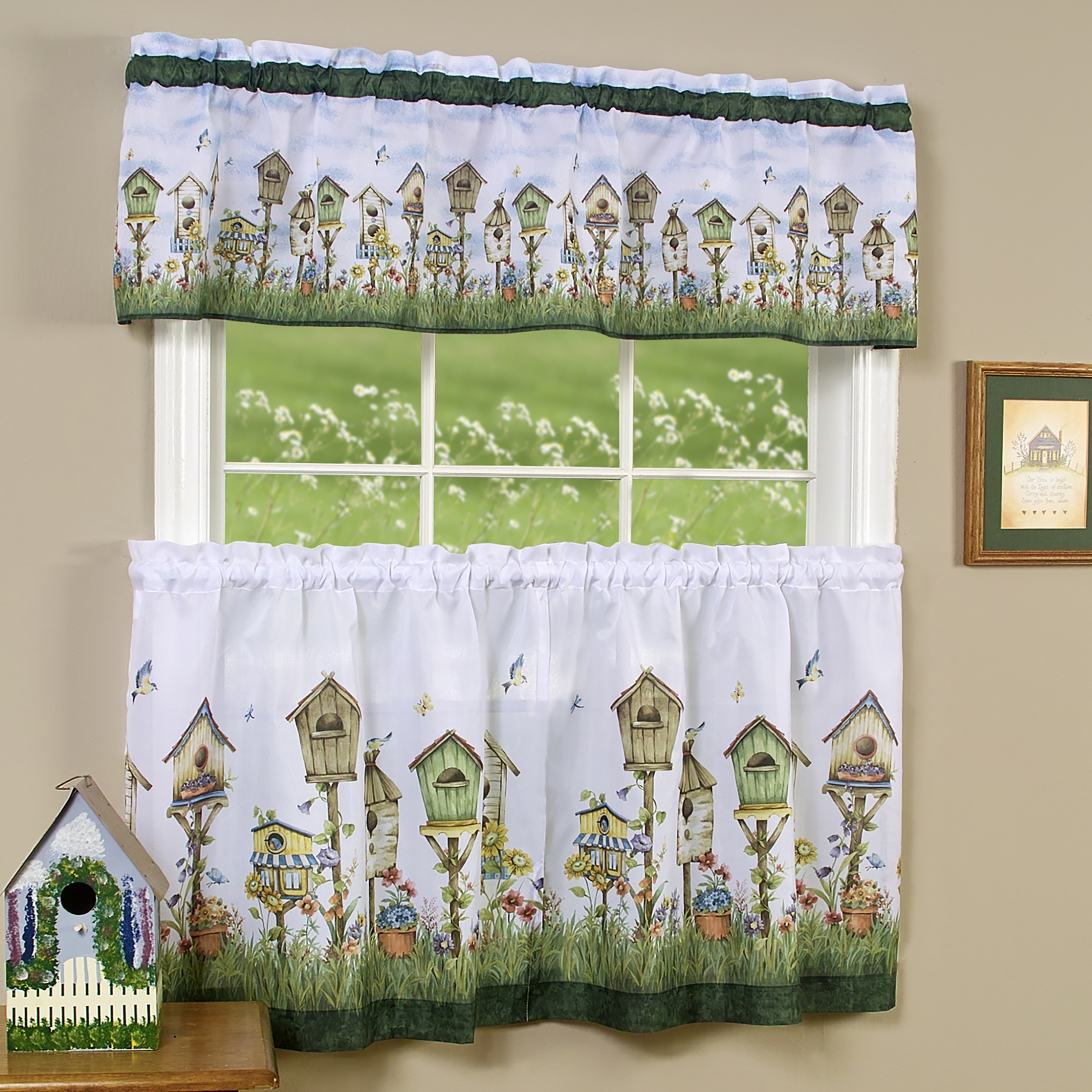 Details about 3PC Floral Window Kitchen Curtain Set Love Birds Birdhouse  Tier Panel & Valance