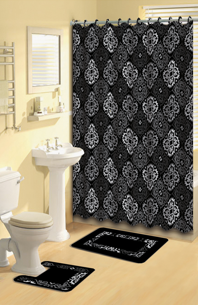 Black Gray Scrolls Shower Curtain 15 Pcs Bath Rug Mat