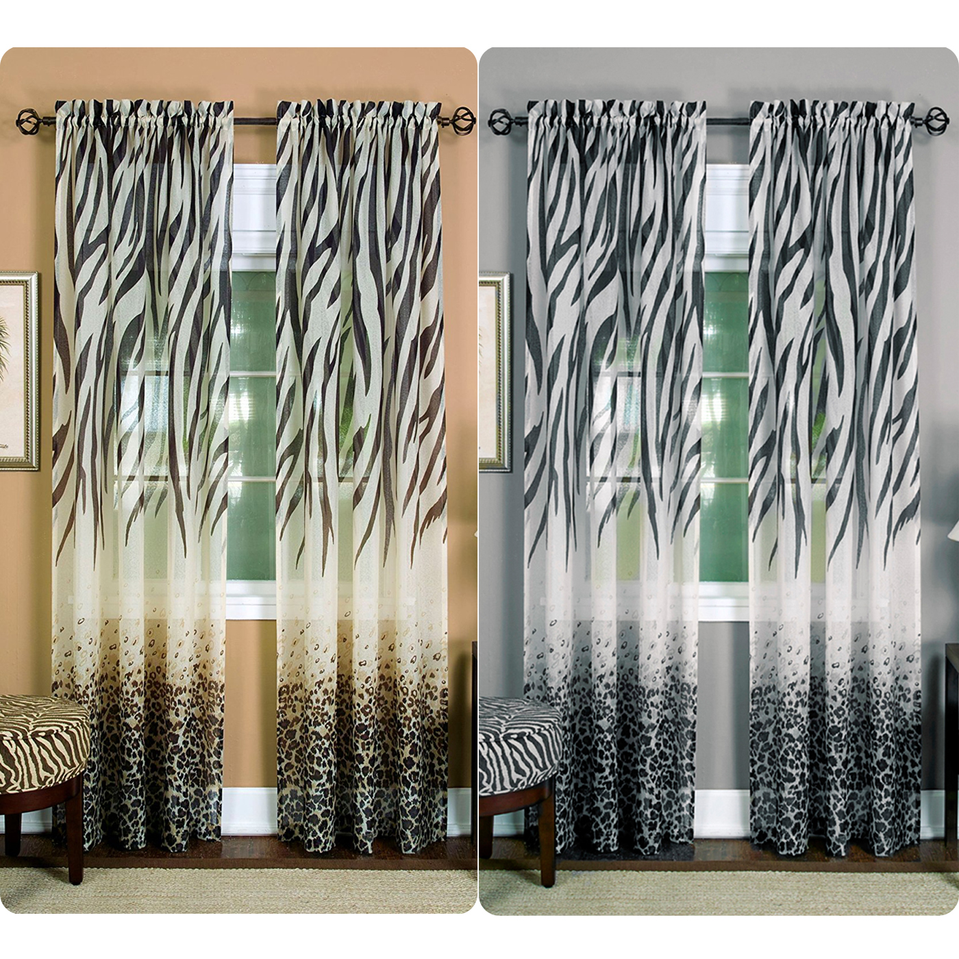Image of: Images Details About Window 2pack Panel Curtain Animal Print Zebra Semisheer Light Filtering Panel Ebay Window 2pack Panel Curtain Animal Print Zebra Semisheer Light