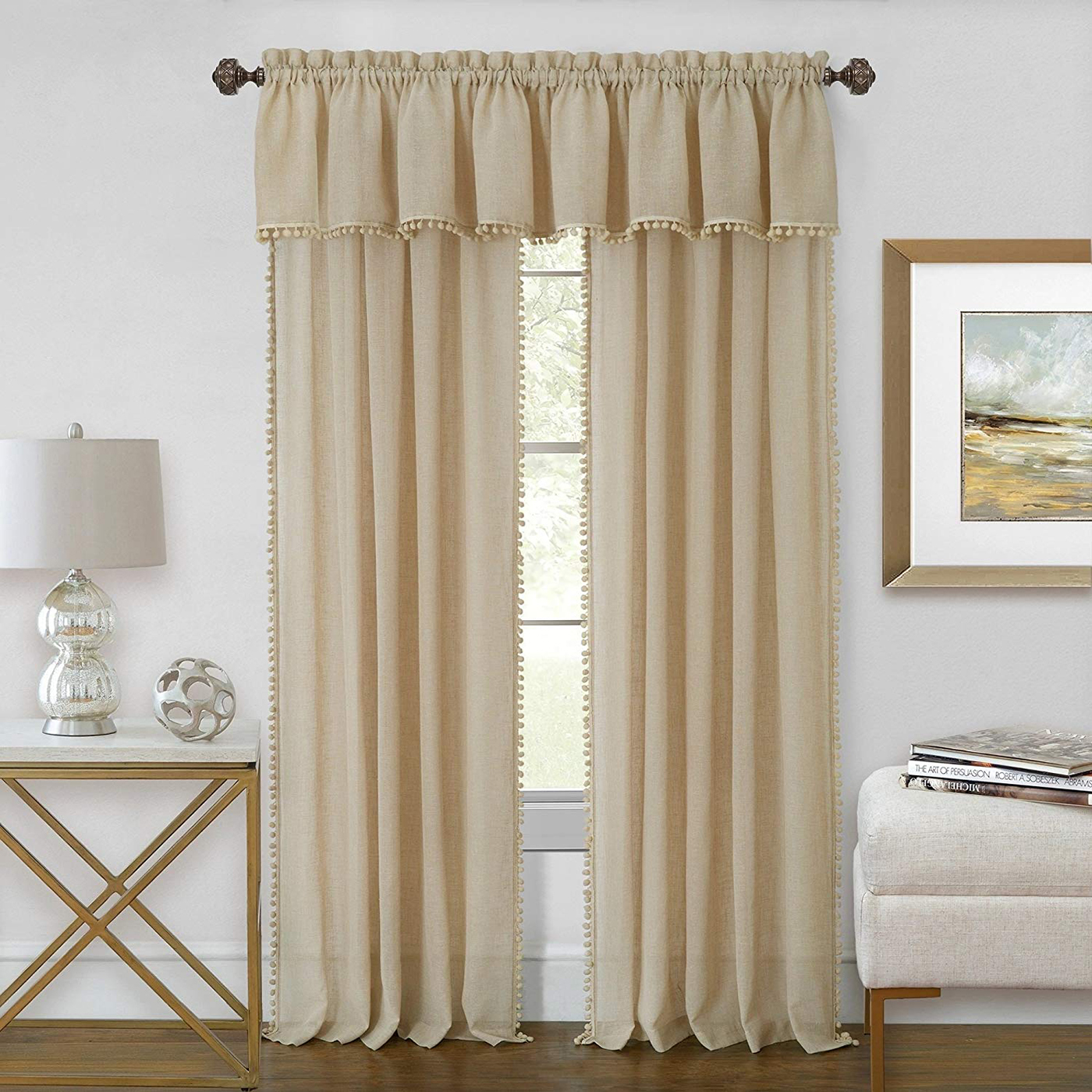 Curtain-Rod-Decorative-Telescopic-Cafe-Window-Drapery-Rods-Set-w-Modern-Finials thumbnail 25