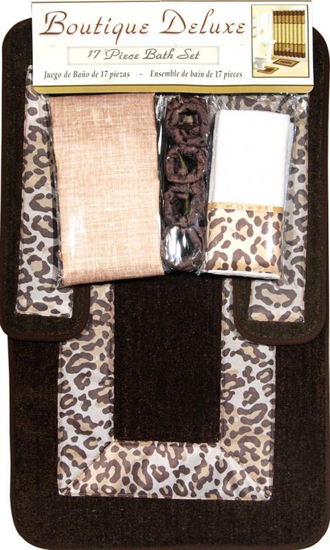 Shower Curtains 17 Pcs Set Contemporary Bath Mat Contour Rug Hooks Hand  Towels | EBay