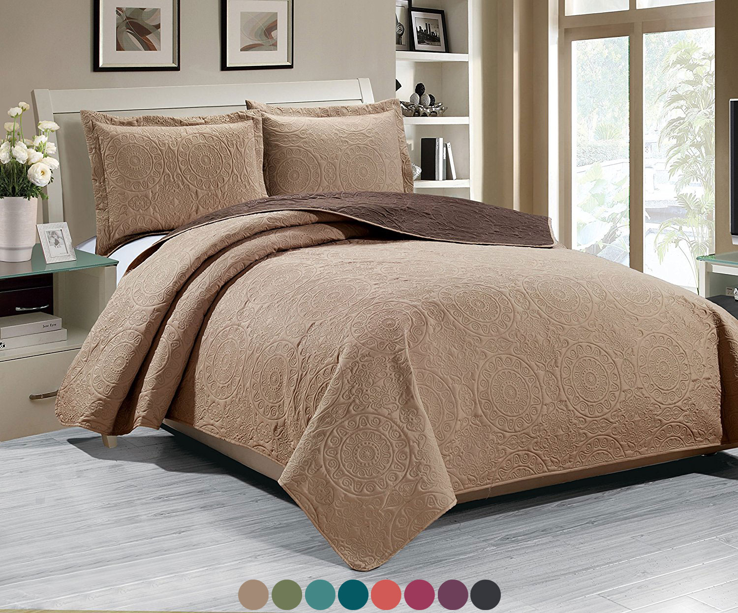 Woven Trends Medallion 3PC Luxury Comforter Quilt Bed Set Reversible ...