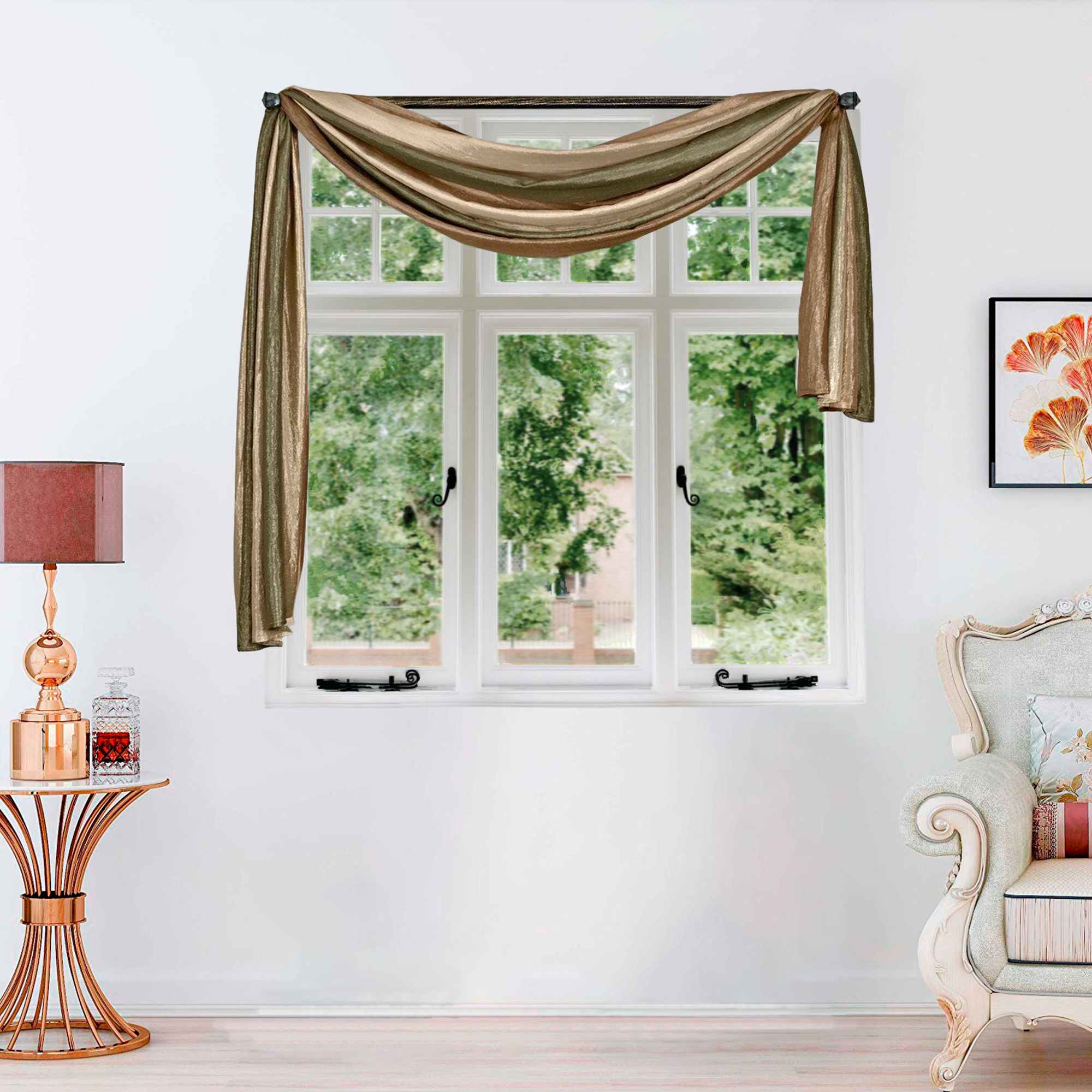 Window Curtains Modern Semi Sheer Long Scarf Valance For Living Room Or Bedroom Ebay