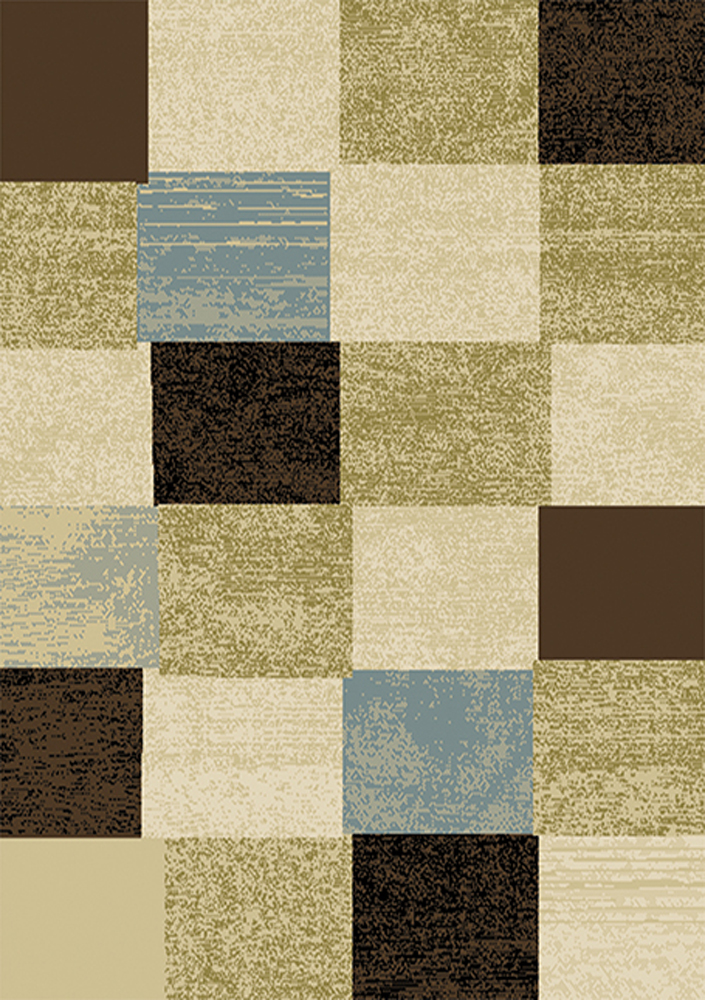 Modern Geometric Blocks Squares 2x7 Area Rug Carpet
