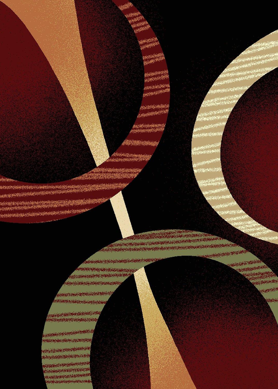 Modern Contemporary Geometric Area Rug Runner Accent Mat Carpet E Multi Rings