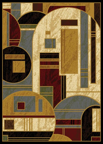Modern Abstract Geometric Shapes 6x8 Black Area Rug