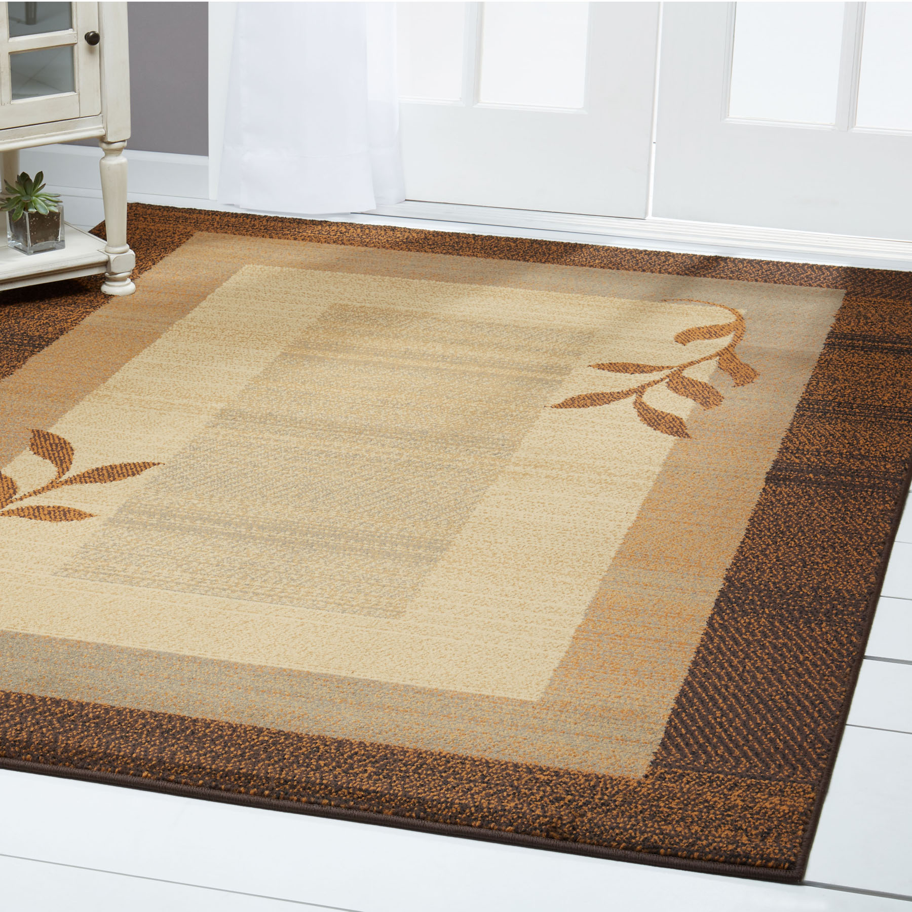 Geometric Brown Beige Modern 4x6 Area Rug Leaves Carpet Actual 3 6 X 5 2 Ebay