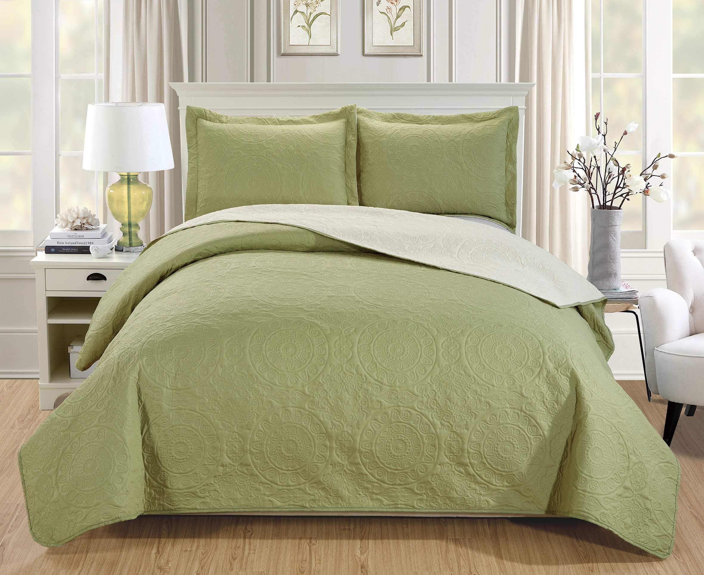 Woven-Trends-Medallion-3PC-Luxury-Comforter-Quilt-Bed-Set-Reversible-Bedspread