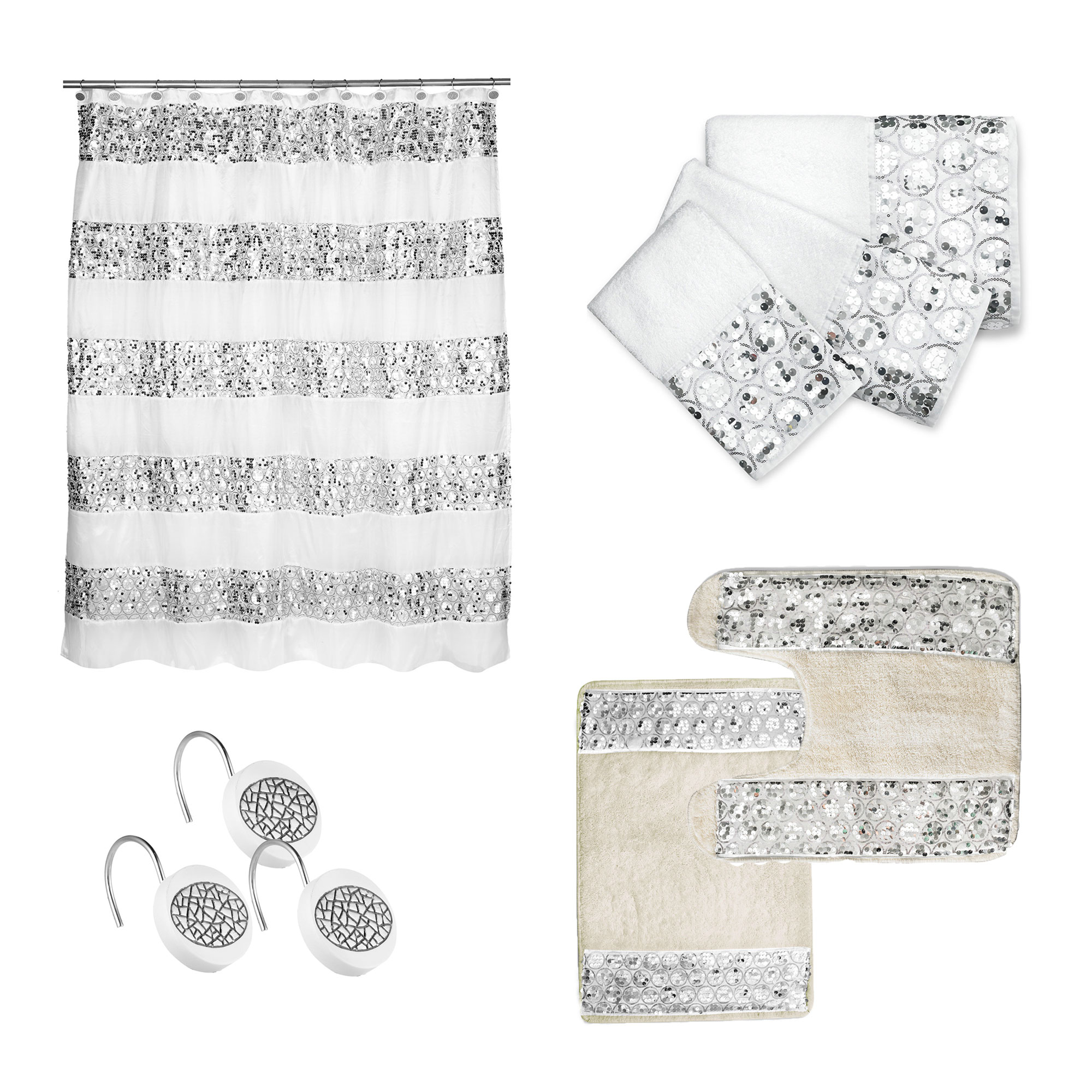Bath Accessory 7pc Curtain Sets Hooks 3pc Towel Set Contour Mat Rug Ebay