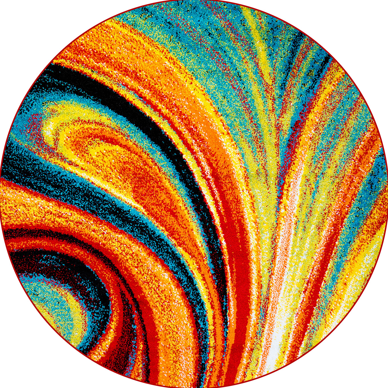 Multi Color Swirls Round Area Rug 8x8 Abstract Carpet