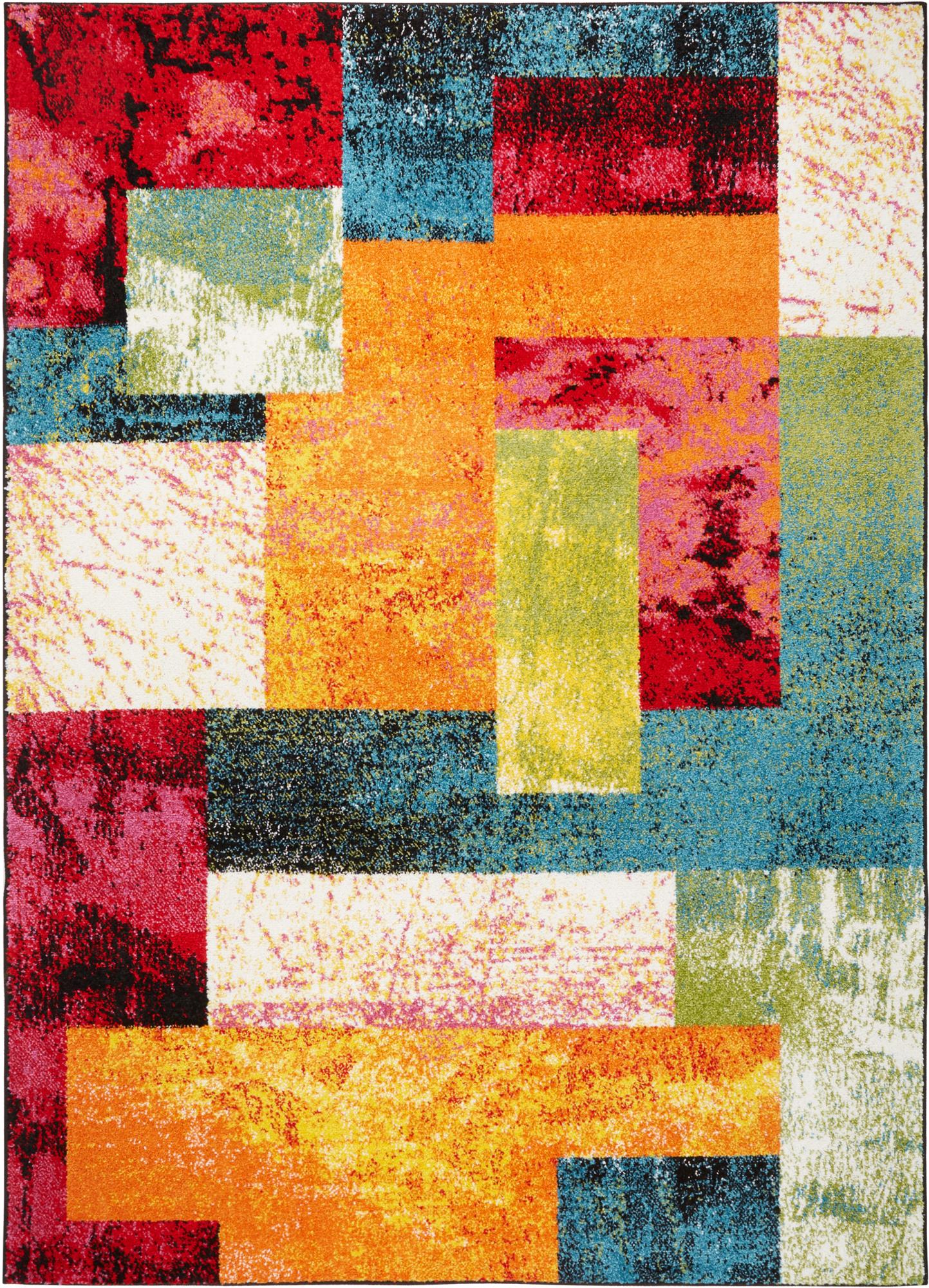 Modern Multi Color Area Rug 2x3 Abstract Blocks Carpet