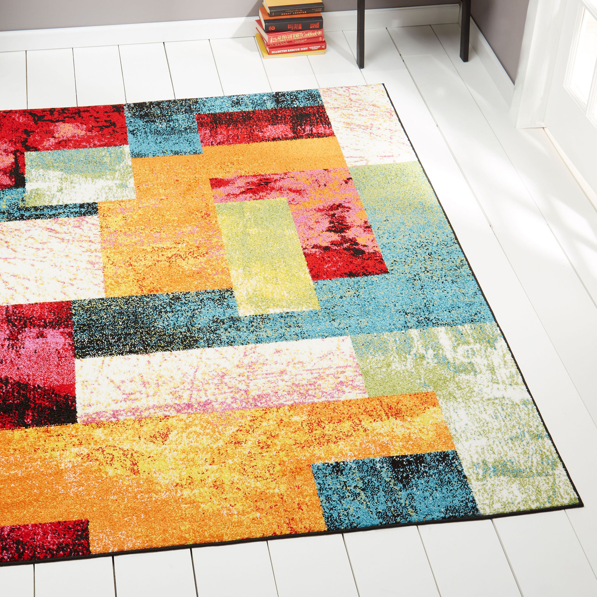 Modern Multi Color Area Rug 5x7 Abstract Blocks Carpet Actual 5 2
