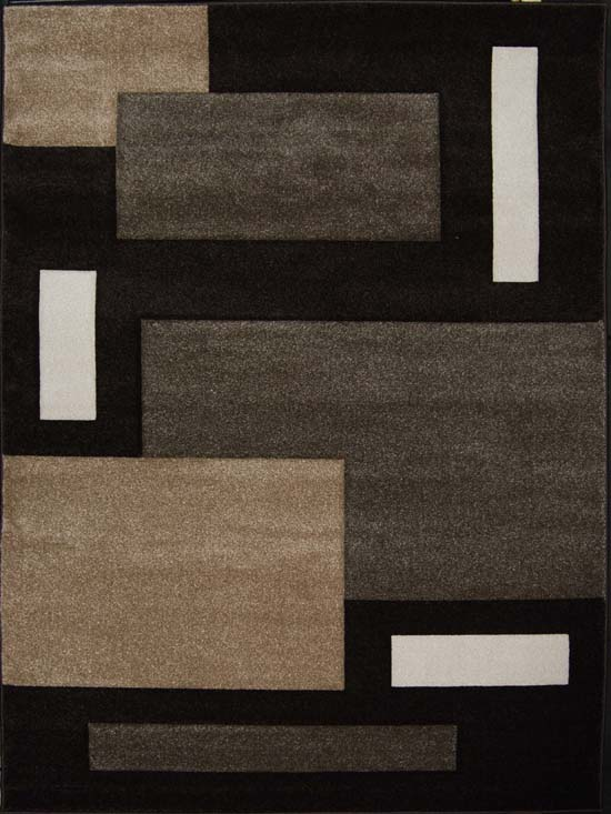 Contemporary Dark Brown Modern Area Rug Hand Carved