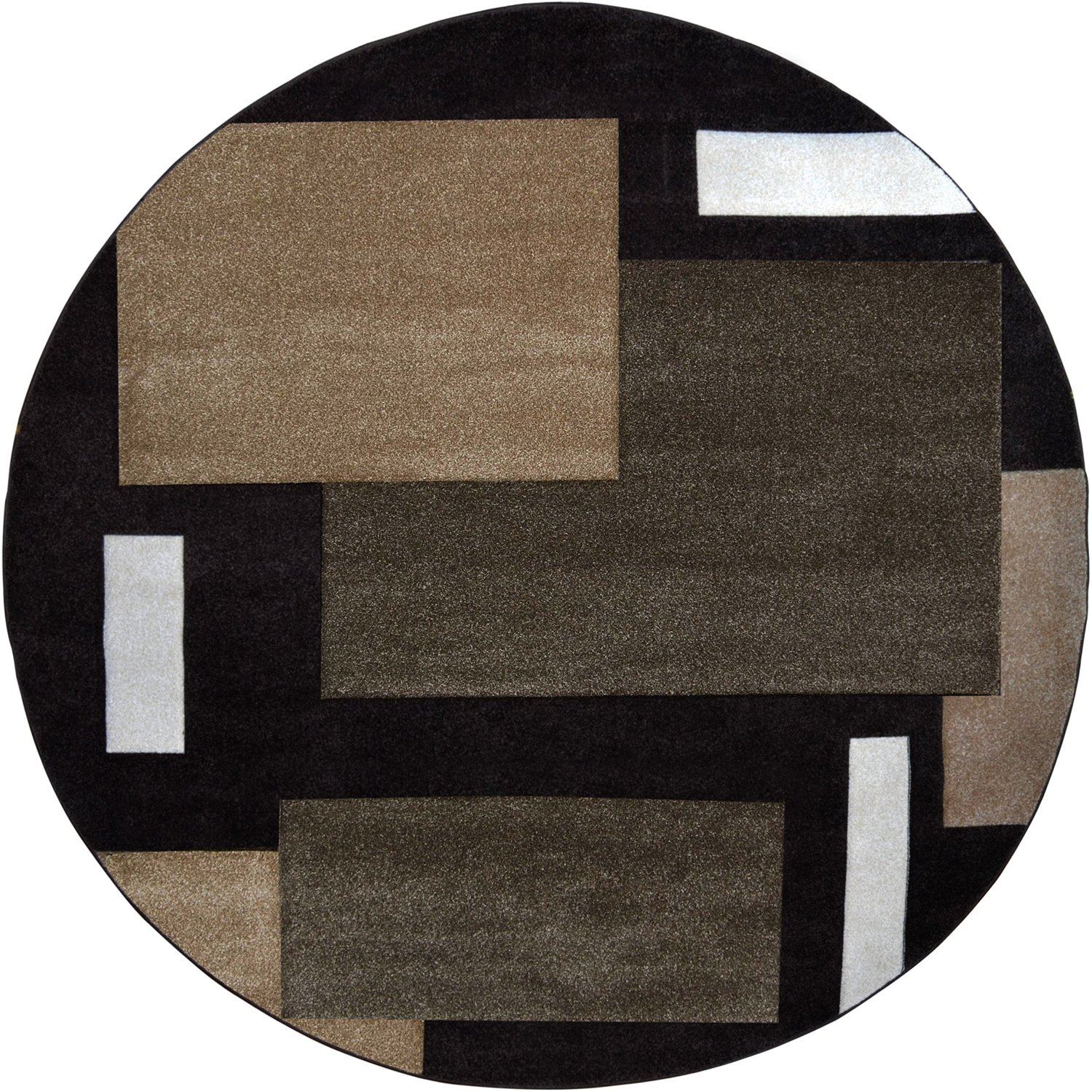 Contemporary Dark Brown Modern Area Rug Hand Carved Squares Abstract Carpet
