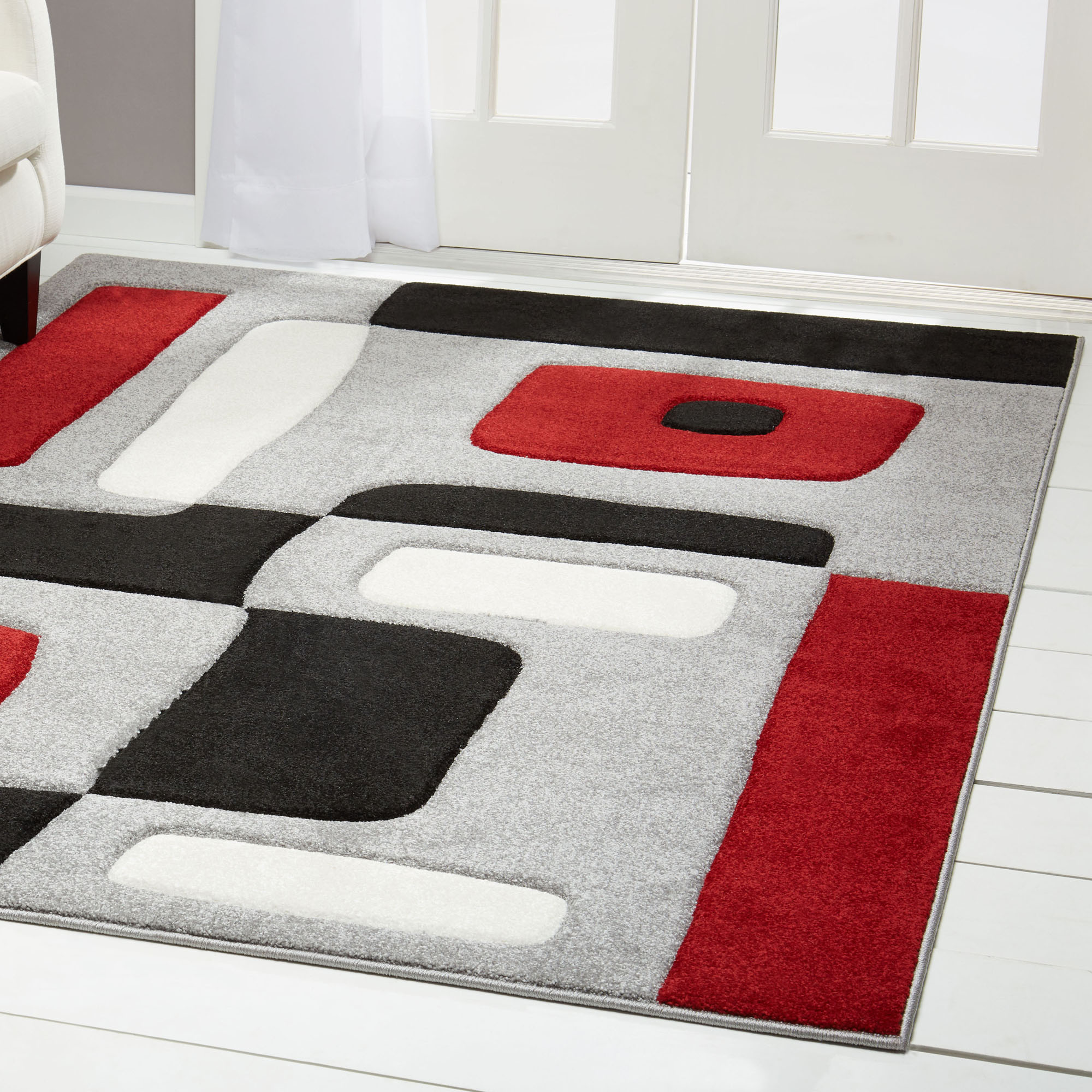 Black Red Hand Carved Area Rug Modern Geometric Shapes