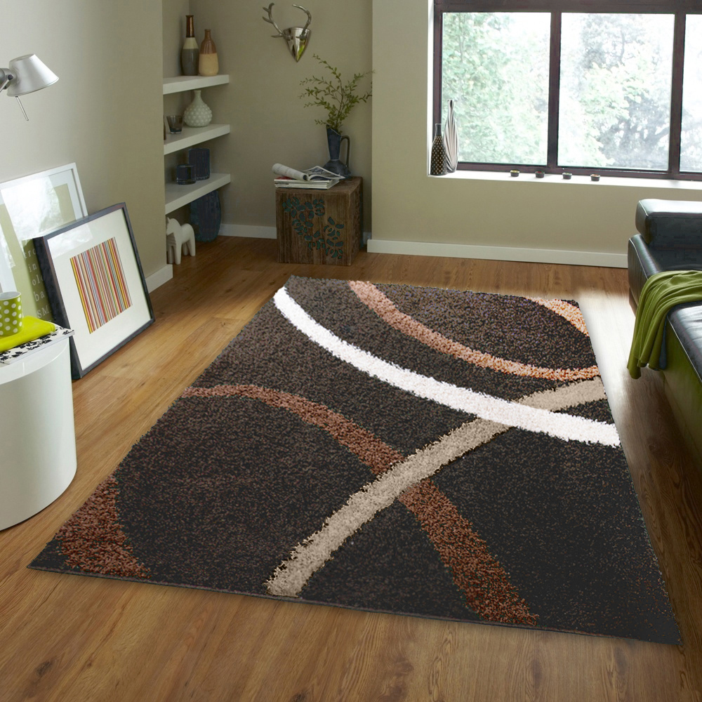 Brown Shaggy 2x3 Area Shag Rug Modern Swirls Lines Carpet