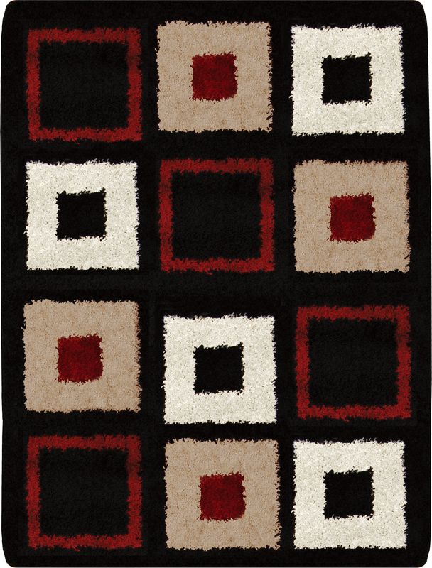 Contemporary Modern Shag Black Red Area Rug Squares Shaggy Floor