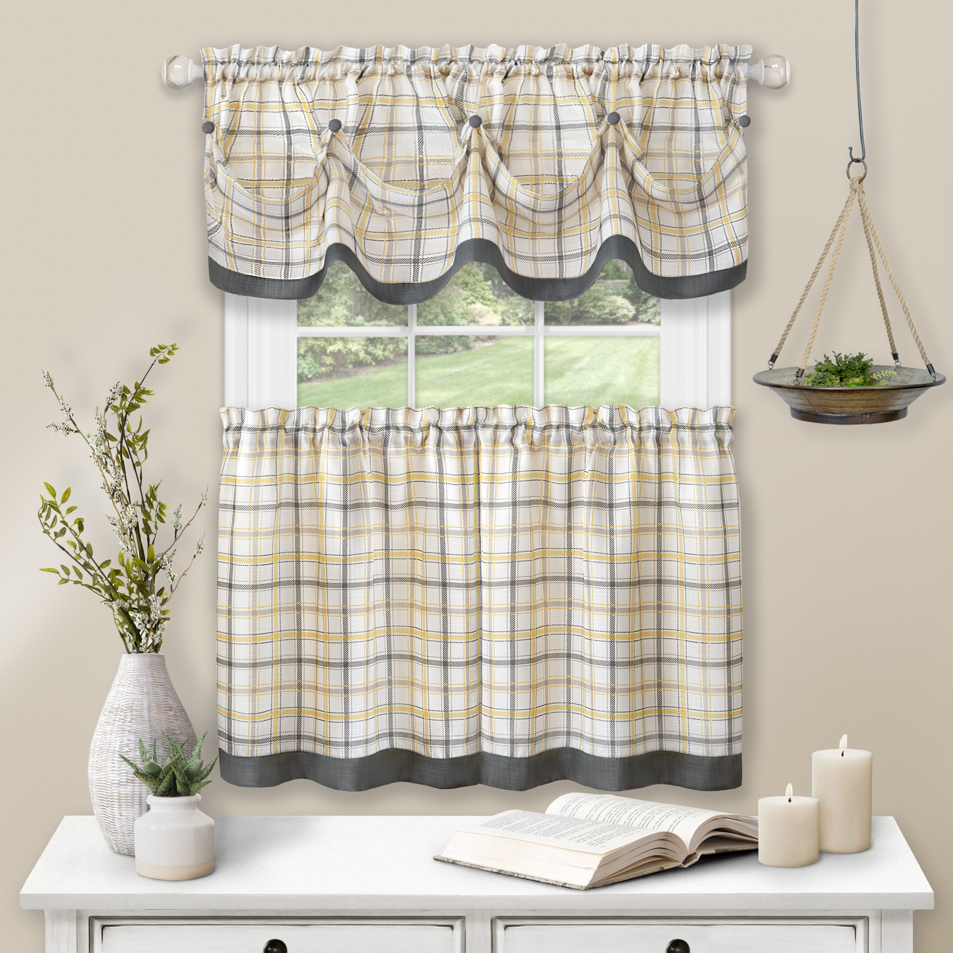 Gray Plaid Gingham Tab Top 3 Piece Window Kitchen Curtains Drapes With Valance Ebay
